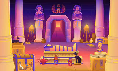 Egypt pharaoh tomb with a sarcophagus, chests, statues of the pharaoh with the ankh, a cat figurine, dog, Nefertiti, columns and a lamp. Vector cartoon illustration for games.