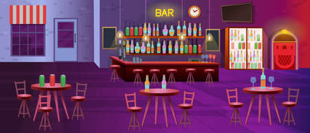 Interior of bar with lamps, tables with chairs, shelves with alcohol bottles, tv, fridges and jukebox. Vector cartoon illustration 矢量图像