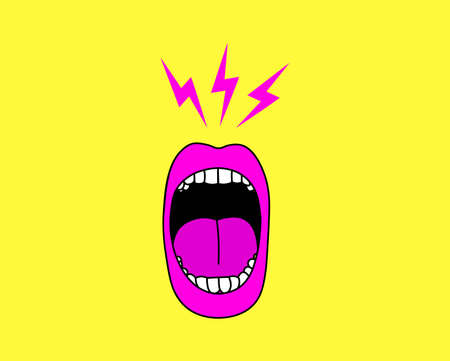 Cartoon screaming mouth vector illustration. 矢量图像