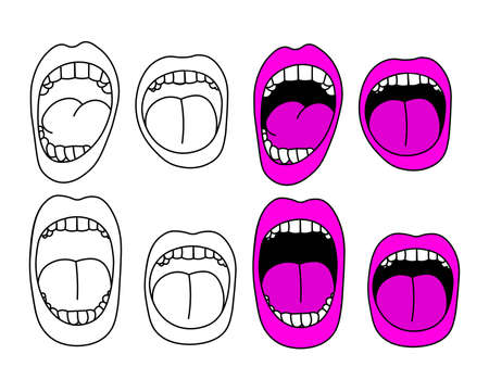 Set of cartoon screaming mouths vector illustration. 矢量图像
