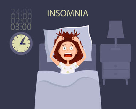 A woman in bed with open eyes suffers from insomnia, nightmare, disorder symptoms. Flat cartoon vector illustration.