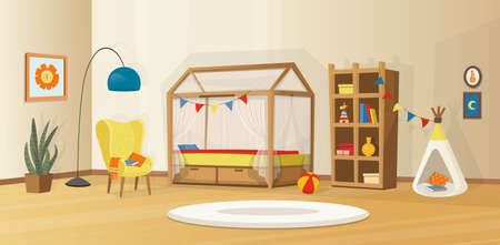 Cozy kids interior with toys, bed, bookcase, armchair, kids tent and lamp. Scandinavian vector interior in cartoon style.