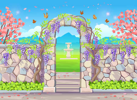 Wormwood tree. Blooming wisteria branches and bunches of flowers, elements for design. Vector cartoon illustration.