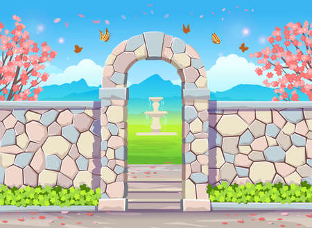 Brick wall with door arch with wisteria. Spring park illustration with flowering trees, fountain, butterflies and wisteria.Vector illustration in cartoon style