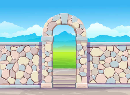 Brick wall with door arch.Park illustration with fountain. Vector illustration in cartoon style Çizim