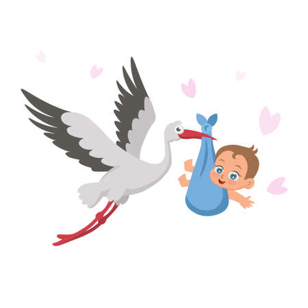 Stork with baby on a white background. Concept of greeting card, baby shower invitation. It's a girl. Vector illustration in cartoon style.
