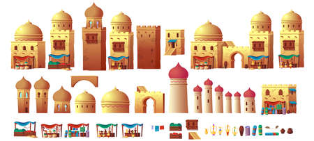 Panorama of ancient arab city with houses and the Arab market. Vector illustration in cartoon style.