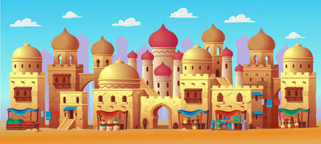 Panorama of ancient arab city with houses and the Arab market. Vector illustration in cartoon style for children. Background for games and mobile applications. Çizim