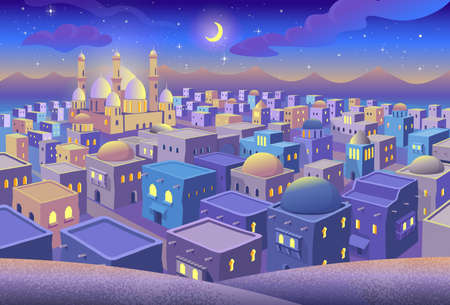 Panorama of ancient arab city with houses and the mosque at night. Blue city with perspective. Vector illustration in cartoon style.