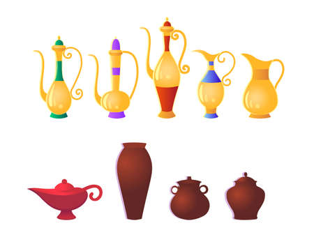 Set of traditional Arabic jugs and magical genie lamp. Vector illustration in cartoon style.