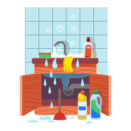 Clogged kitchen sink. Leaking sink with clogged water pipe. Broken water pipe with leakage. Vector illustration of cartoon style. Çizim