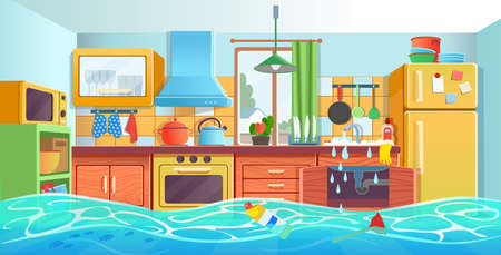 Ð¡ozy colored kitchen interior with fridge, kitchen stove, cupboard dishes. Vector illustration flat cartoon style.