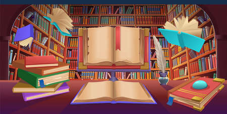 Library book shelves with flying books, stack of books, old open book, cartoon vector illustration.
