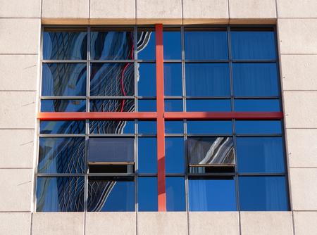 open windows: Open windows of a modern building in Madrid Stock Photo