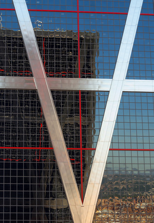 castellana: MADRID, SPAIN - September 18, 2015: Towers of Europe designed by American architects Philip Johnson and John Burgee.