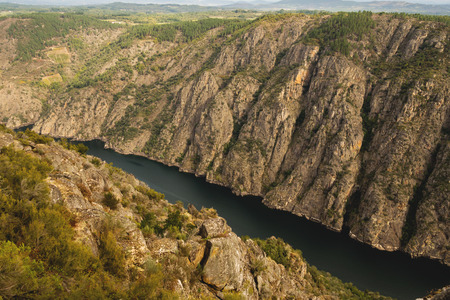 ribeira: Sil River Canyon in the Ribeira Sacra; Ourense; Spain Stock Photo