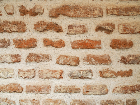 revetment: Rough brick wall and cement weathered