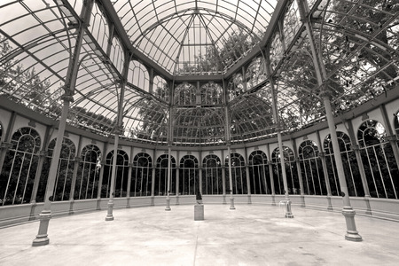 bosco: Madrid, Spain 12 October 2016: Interior of the Crystal Palace in Retiro Park in Madrid. Spain. Built in 1887 by the architect Ricardo Velázquez Bosco