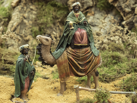 melchor: Decorative figures of traditional in Christmas of the portal of belen