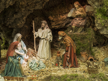 Christmas Crib with Joseph, Mary, the Child Jesus and the Kings of the East Editorial