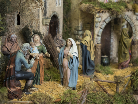 Decorative figures of traditional in Christmas of the portal of belen