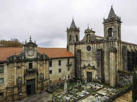 Nogueira de Ramuin, Spain - December 28, 2017: Monastery of Santo Estevo of Ribas del Sil and Canyons of the Sil River