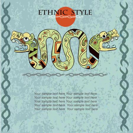 Conception ethnique modèle pour carte. Contexte dans un style ethnique des Aztèques Mayas Incas. Conçu dans les couleurs nationales.