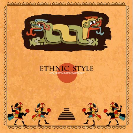 Conception ethnique modèle pour carte. Contexte dans un style ethnique des Aztèques, les Mayas, les Incas. Conçu dans les couleurs nationales.