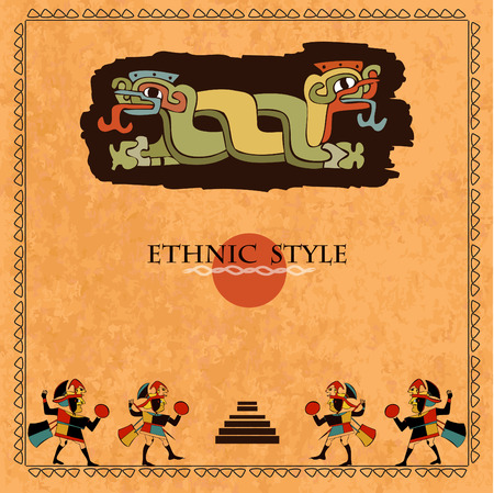 mayas: Template ethnic design for card. Background in ethnic style of the Aztecs, Mayas, Incas. Designed in the national colors.