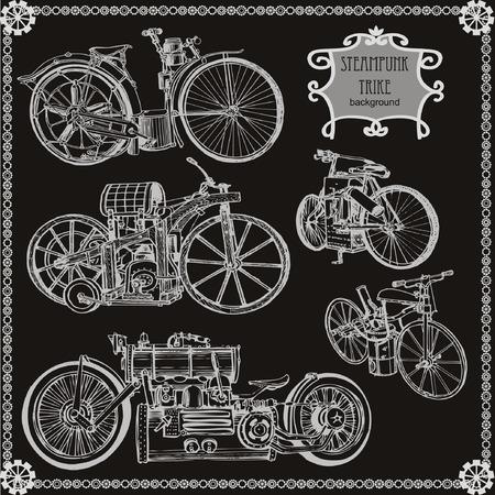 punk: Set of vintage steam bike. Steampunk style.