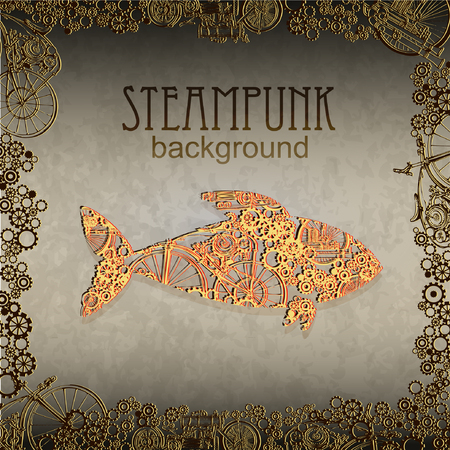 Steampunk style. Template steampunk design for card. Frame steampunk background. Big fish.