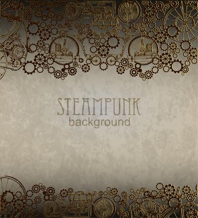 Steampunk style. Template steampunk design for card. Frame steampunk background. Zdjęcie Seryjne - 45216108