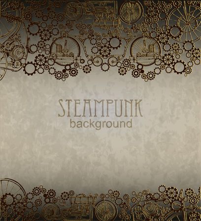 steampunk: Steampunk style. Template steampunk design for card. Frame steampunk background.