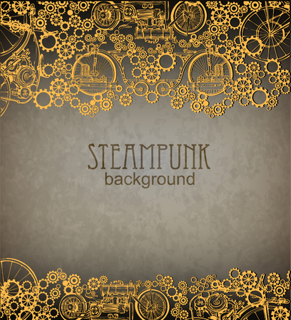 maquina de vapor: Estilo Steampunk. Diseño steampunk modelo para la tarjeta. Marco de fondo del steampunk.