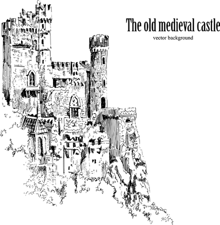 Medieval castle Isolated on white background. Graphic drawing. Vettoriali