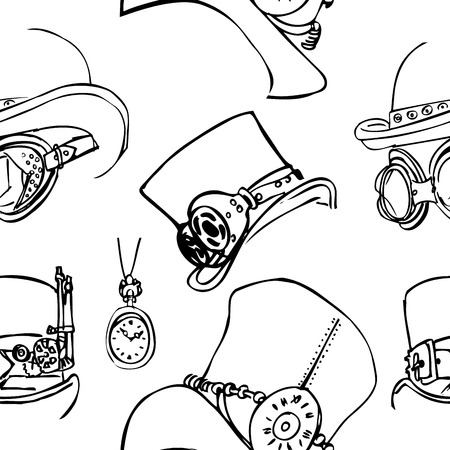 steampunk goggles: Seamless pattern Steampunk with steampunk top hat and brass goggles