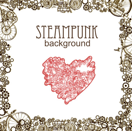 Steampunk style. Template steampunk design for card. Frame steampunk background. Mechanical heart.