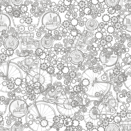 industrialization: Seamless pattern Steampunk with old bikes and gears. Template steampunk design for card. Steampunk style.