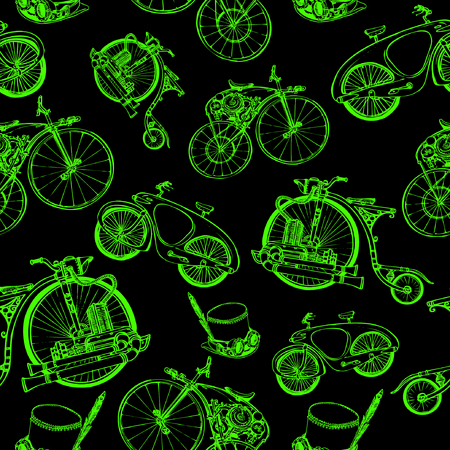 Seamless pattern Steampunk with old bicycle and cylinder hat Illustration