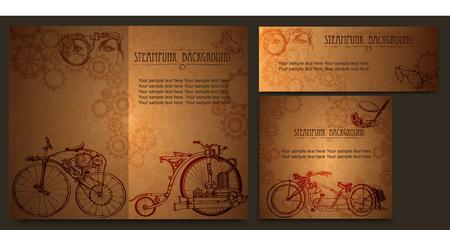 Steampunk style frame steampunk background