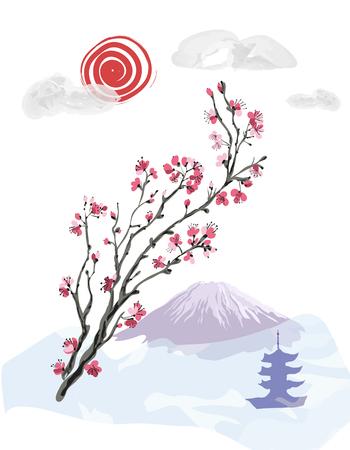 Realistic sakura blossom - Japanese cherry tree. Imitation of watercolor. Landscape on the background of Mount Fuji.