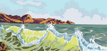Seascape. Mountain Beach in the storm. Summer background. Vector illustration.