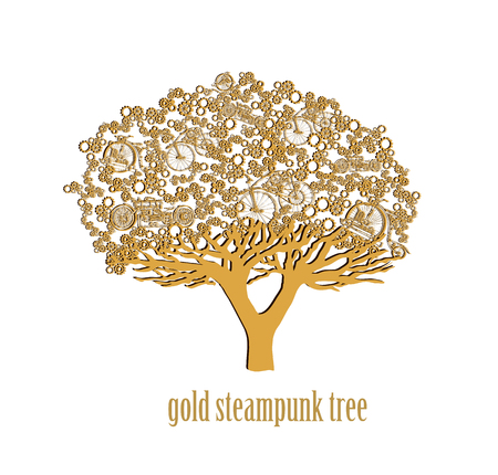 Creative design of a colorful Stylized steampunk tree isolated on white background. Steampunk style.