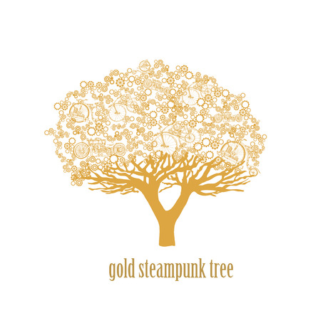 antique factory: Creative design of a colorful steampunk tree isolated on white background. Steampunk style. Illustration