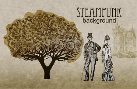 Steampunk style. Template steampunk design for card. Frame steampunk background. The stylized tree. Man and woman in historical costumes.