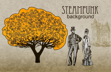 antique factory: Template steampunk design for card. Frame steampunk background. The stylized tree. Man and woman in historical costumes.
