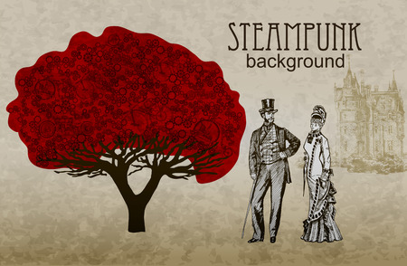 Red Template steampunk design for card. Frame steampunk background. The stylized tree. Man and woman in historical costumes.
