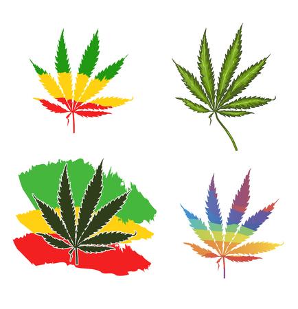 Set realistic marijuana leaf. Cannabis plant