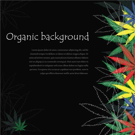 Marijuana leafs. Cannabis plant background. Hand drawn style. Illustration