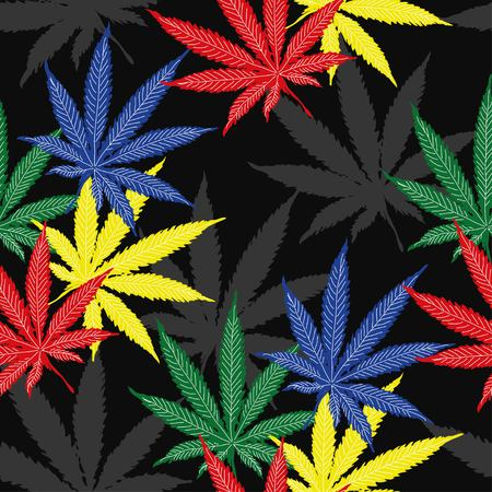 Seamless pattern with leaves of hemp, marijuana, hashish. Marijuana leaf. Cannabis plant Illustration
